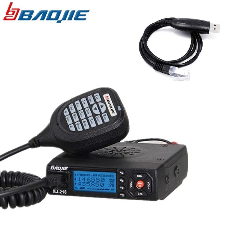 Baojie bj-218 20 km Walkie Talkie de Longo Alcance Rádio de Carro Mini móvel Rádio Transceptor VHF/UHF BJ218 CB Radio + 1 usb cabo