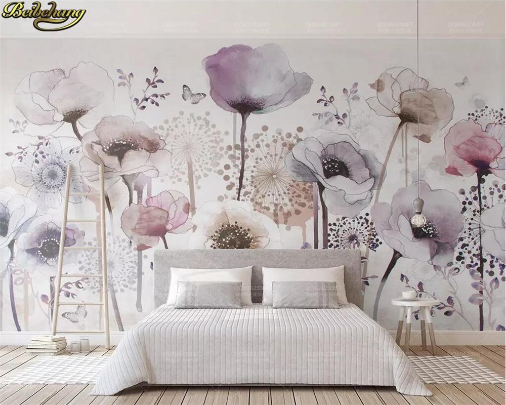 Beibehang personalizado foto papel de parede mural aquarela pintados à mão estilo lilás floral bonito tv fundo da