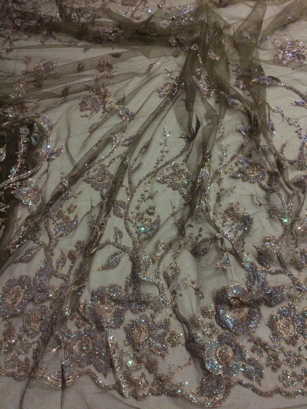 fashion High Quality African tulle Lace fabric CGL 92605 with glitter african guipure lace Fabric