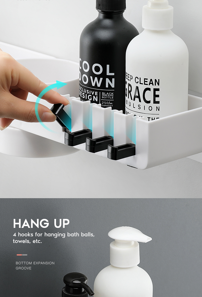 Rotatable Wall Mounted Bathroom Organizer With 4 Hook For Storage Shower Gel And Shampoo 20