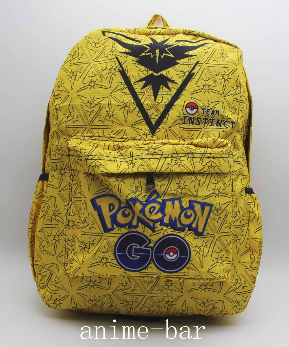 Pokemon GO Team Instinct Zapdos Laptop Backpack Anime Shoulder School Bag Unisex Cartoon Yellow Student Bags Bookbag anime tokyo ghoul cosplay anime shoulder bag male and female middle school student travel leisure backpack