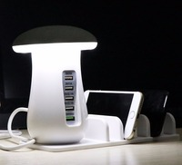5 Ports Travel Charger Lamp Desk Lamp Charger Quick Phone Charger For IPhone X 8 8