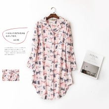 Cute kawaii pink cats 100% cotton nightdress women long sleeves women sleepwear casual nightwear Autumn chemise sexy sleepshirts