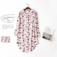Nette kawaii rosa katzen 100% baumwolle nachthemd frauen langen ärmeln frauen nachtwäsche lässige nachtwäsche Herbst chemise sexy sleep