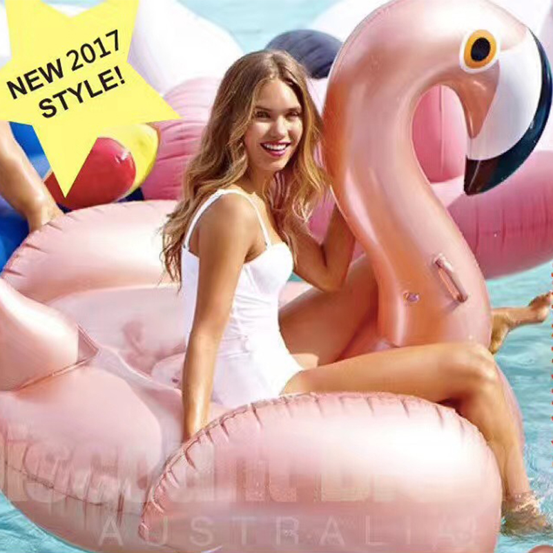 Giant Inflatable Flamingo Pool Float Rose Gold Swim Ring Summer Water Toy Pink