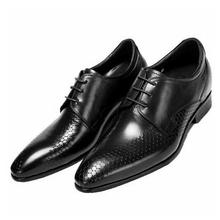 Мужская обувь с острым носком из кожи головы, деловая модельная кожаная повседневная обувь, мужская обувь, увеличивающая рост, в английском стиле, 7 см