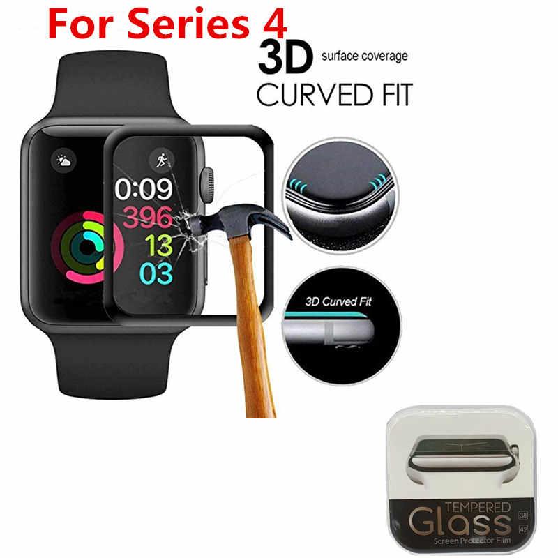 BUMVOR מלא כיסוי מזג זכוכית עבור Apple שעון להקת סדרת 4 40mm 44mm מסך מגן iwatch 3/ 2/1 42mm 38mm 3D מעוקל