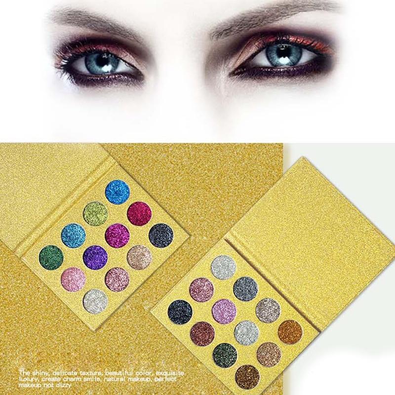 1 pz 12 Colori Pressed Glitter Eyeshadow Tavolozze Arcobaleno Diamante Occhio Shdow di Trucco Tavolozze Shimmer Smokey Occhi Make Up Cosmetic set