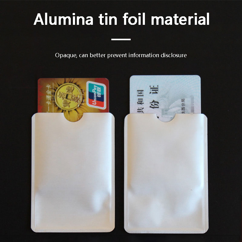 FGHGF 10pcs Silver Anti Scan RFID Sleeve Protector Credit ID Card Aluminum Foil Holder Durable Quality