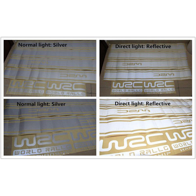 Image 4 - 45CM * 15CM 1 Pair WRC Car sticker BK KK Reflective Sliver Material 1 Pair Gird Pattern Auto Vehicle Body Decoration Stickers-in Car Stickers from Automobiles & Motorcycles