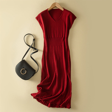 LHZSYY Summer New Women's Sleeveless Wool Knit Dress Solid color V-Neck Waist Long Section 2019 Fashion Dress Soft Wild Pullover lhzsyy 2019women s spring new large size long solid color wool knit dress loose retro o neck high waist knit wild dress sweater