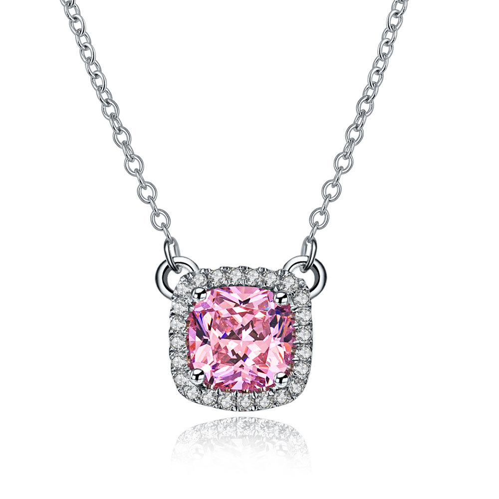 Luxury Quality 1Ct Color princess cut Diamond pendant Pendant 925 sterling silver necklace wholesale