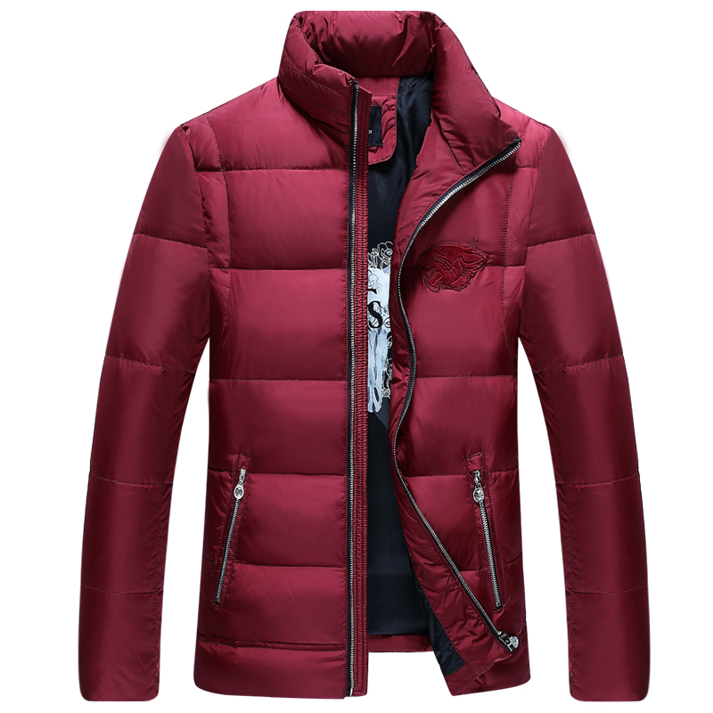 ФОТО 2016 Men Winter Down Jacket Coats Short Thick Overcoats Men's Clothing with pattern Men's Warm Comfortable Parka