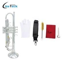 Bb труба B плоская Посеребренная Латунная Труба Изысканная с мундштуком Чистящая Щетка тканевые перчатки ремень