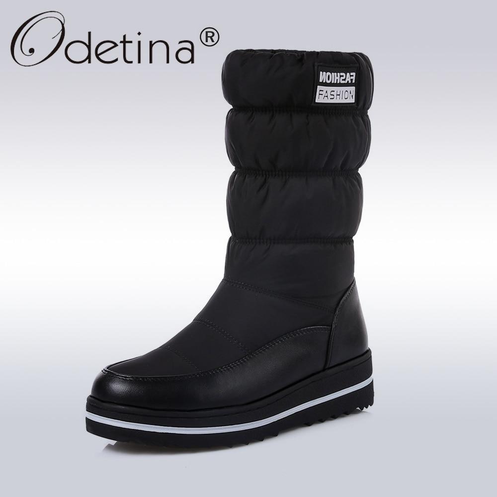 Odetina Winter Schneeschuhe Frauen Warme Plüsch Unten Mitte Der Wade Stiefel Damen 2018 Mode Runde Kappe Plattform Schuhe Kurze stiefel Schwarz