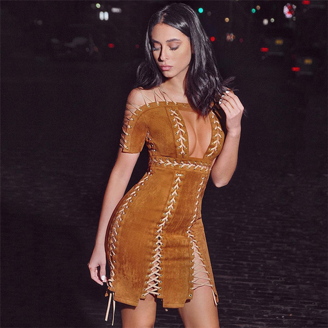 High QUALITY Paris Fashion 2017 Designer Sexy Party Dress Women s Short  Sleeve Chic Rope Lacing Up 6182e627c996