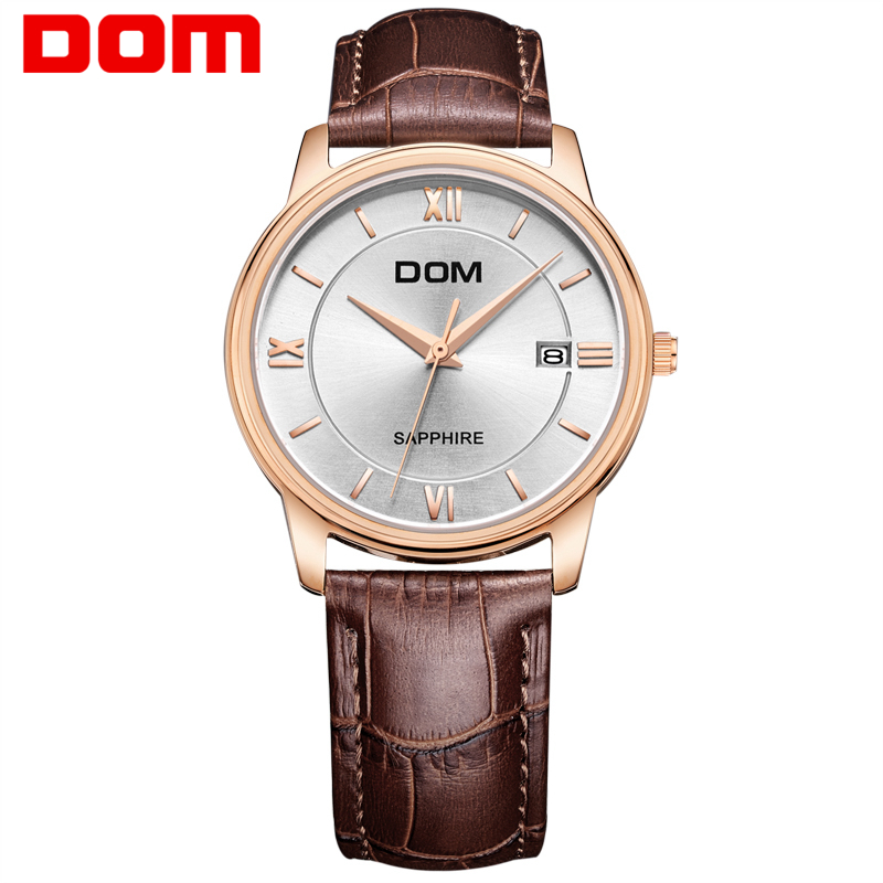 DOM Men mens watches top brand luxury waterproof quartz leather watch gold watch men Business reloj hombre M-512 цена и фото