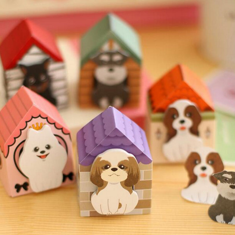 3 PCS Notepad Dog Kawaii Memo Pads Sticky Note Label Message Post Marker for Stationery Office Material School Supplies