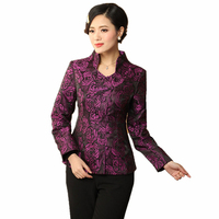 High Quality Purple Chinese Women Coat Mandarin Collar Jacket Vintage Single Button Outwear Floral S M