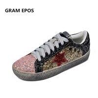 GRAM EPOS 2018 Kadın do eski Eğitmenler gliiter parlak Ayakkabı Düz Marka Ayakkabı Tenis Feminino Kadın Kirli Ayakkabı Espadrilles Sapato