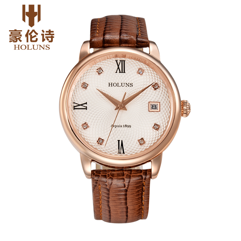 цена на HOLUNS Brand Watch Men Louvre Series Automatic Mechanical Watch Fashion Leather Strap Watches Relogio Masculino