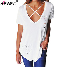ADEWEL Fashion  Loose Pullover T Shirt Short Sleeve Cotton Tops Shirt Womens Tee shirt Crisscross Neckline Distresse Lady Top v neckline fluted sleeve gingham top