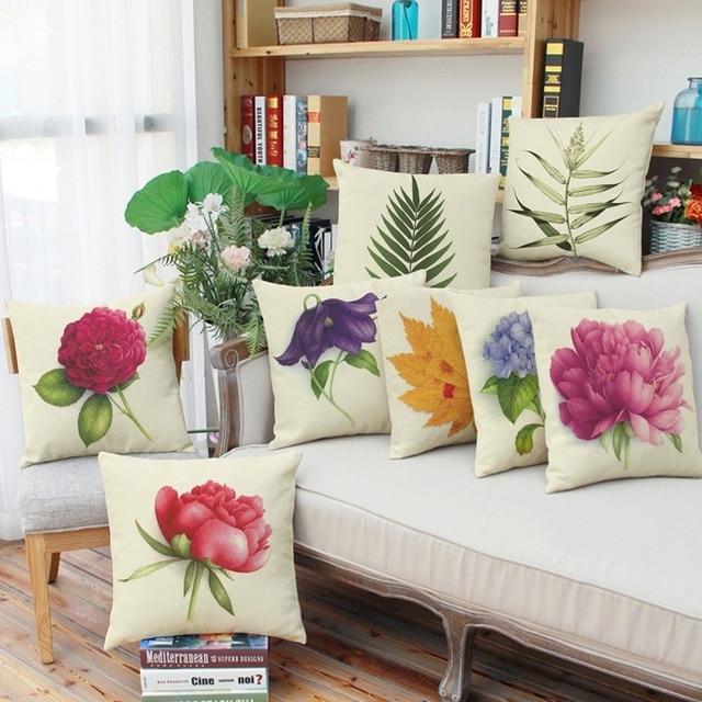 Us 569 Kwiaty I Liście Pościel Poduszki Dekoracyjne Poduszki 45x45 Cm Coussin Nie Rzucać Poduszkami Cojines Almofadas Dekoracji Domu Napełniania W