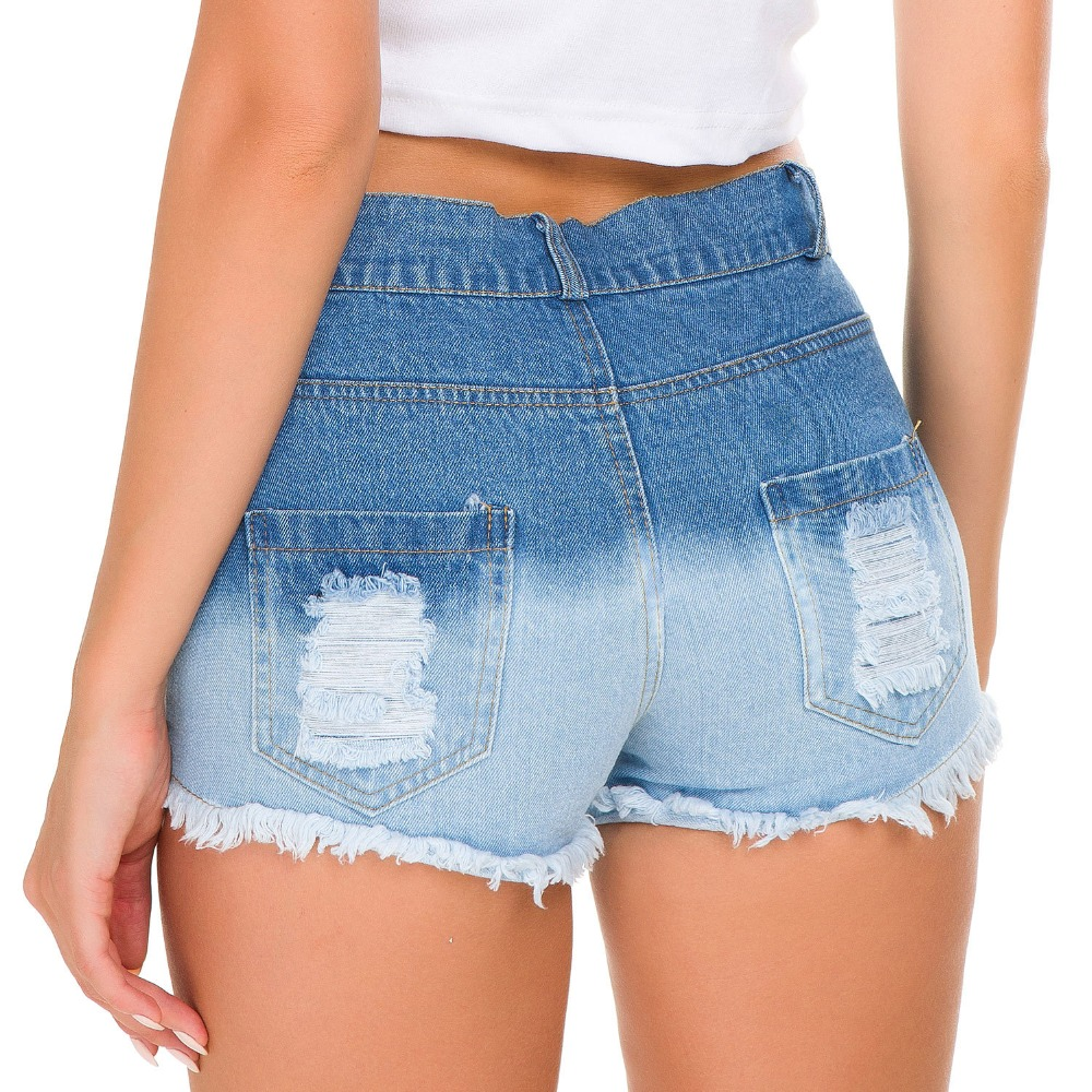 Summer High Waist Denim Shorts Women Sexy Fringe Ripped Hole Jeans Gradient Shorts Girls Beach Hot Booty Shorts Hotpants A199 in Shorts from Women 39 s Clothing