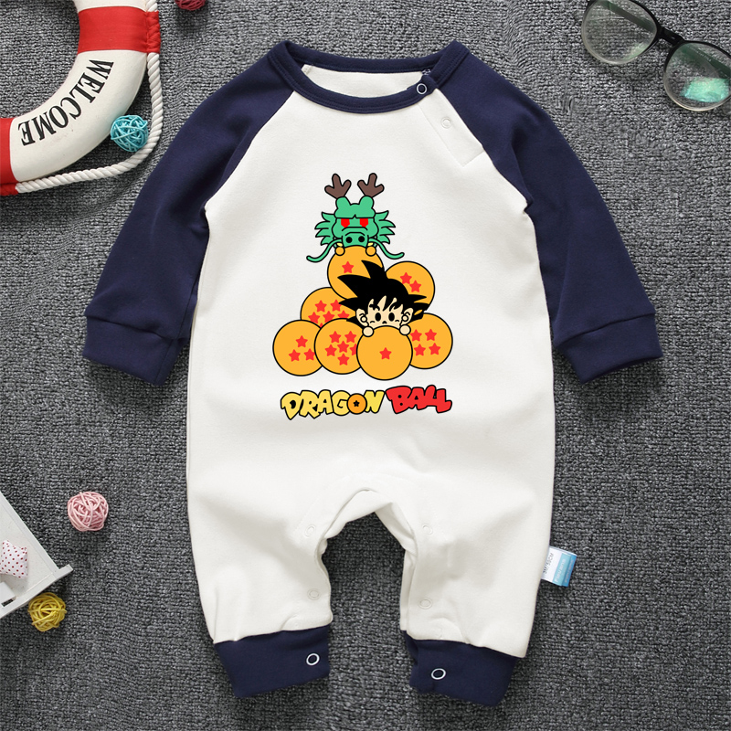 2018 New Children pajamas baby rompers drangon ball newborn baby clothes long sleeve cotton costume boys girls autumn rompers 100%cotton 3pcs lot baby rompers winter long sleeve baby boys clothing solid color o neck jumpsuit baby girls pajamas clothes