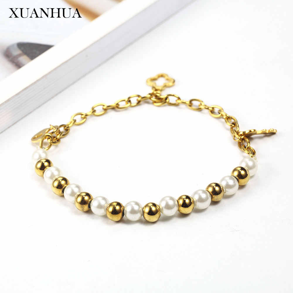 XUANHUA Charm Steel Ball Pearl Bracelets Bangles Stainless Steel Jewelry Woman Vogue 2019 Fine Jewelry Accessories Bohemian