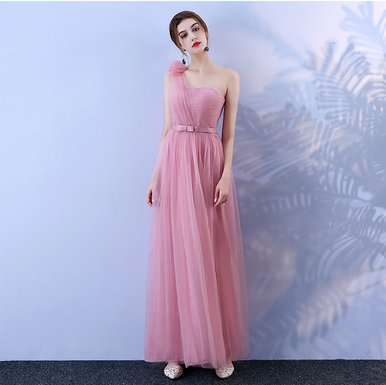 Red Bean Pink Bridesmaid Dress Long  Dress Wedding  Korean Version One Shoulder Dress