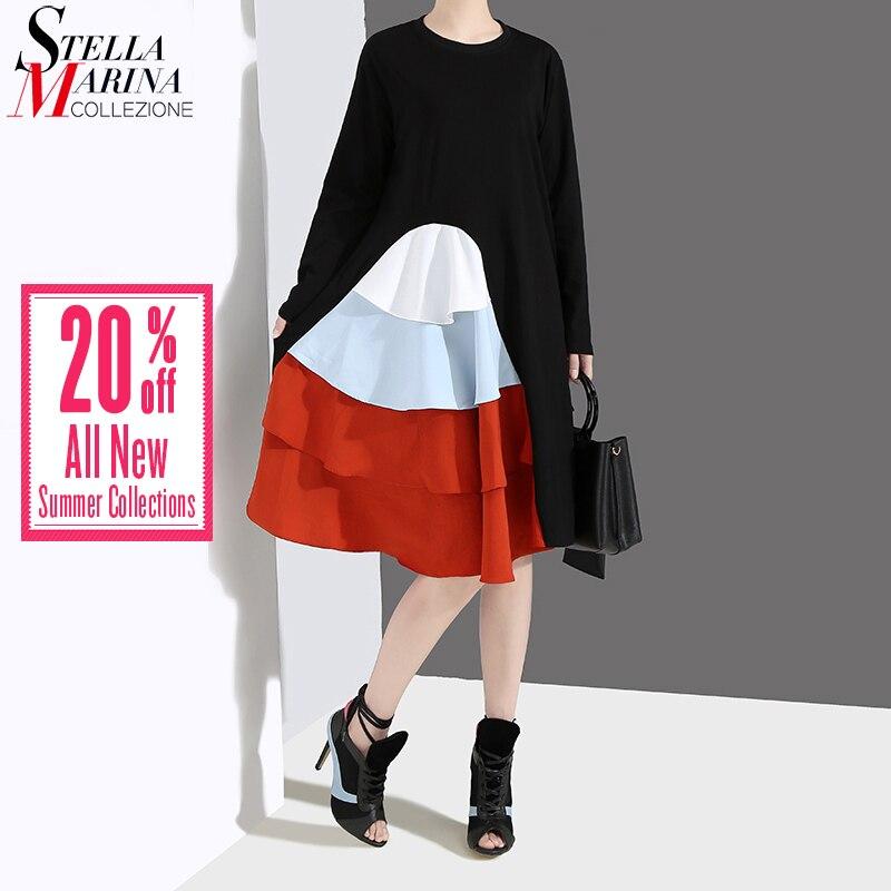 6169edba573b4 Tanie Nowy 2019 koreański styl kobiety sukienka z długim rękawem wiosna  czarny kaskadowe Ruffles kobiet dorywczo Patchwork sukienka na imprezę  szata Femme ...