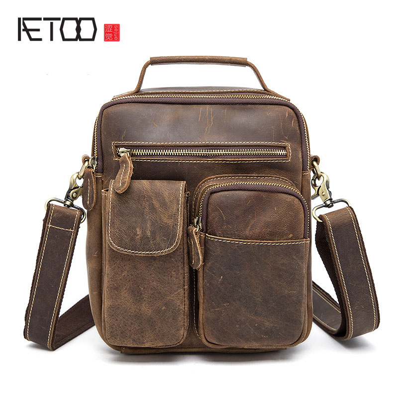 AETOO The new men's Messenger bag retro crazy horse shoulder bag European and American genuine leather package creative new brand women retro genuine leather shoulder bag european and american style woman bag postman package with rivets