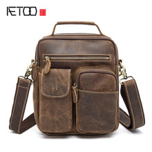 AETOO The new men's Messenger bag retro crazy horse shoulder bag European and American genuine leather package