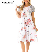 VITIANA 2017 Women Summer Casual Loose Dress White Blue Flower Print Striped Short Sleeve Patchwork O