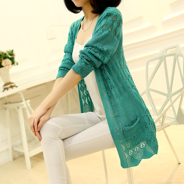 Knitted Cardigan Loose Pocket Hollow Long Sleeve Women Sweater 4