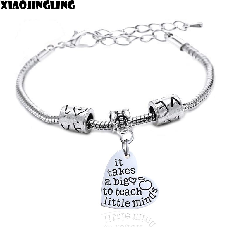 XIAOJINGLING 2017 New Teacher Bracelets It Takes a BIG Heart to Teach Little Minds Metal Heart Bangles Teachers Jewelry Gifts