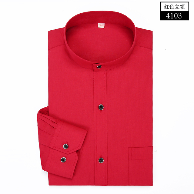 Brand Solid Color Men Shirts Long Sleeve Cotton Slim Fit Cuff Casual Male Social Dress Shirt Clothes Black/Red/White