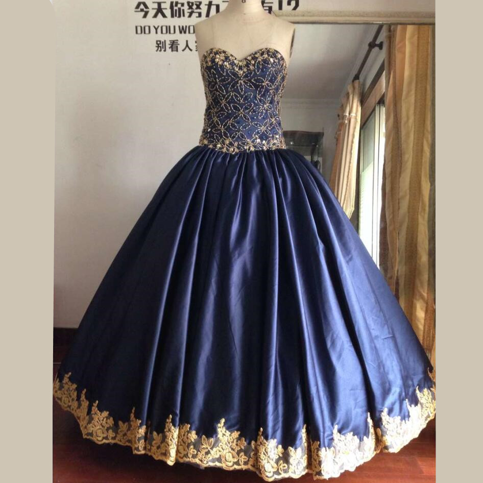 Real Image Ball Gown Navy Blue Quinceanera Dresses With Gold Beads And Crystals Sweet 16 2016 In From