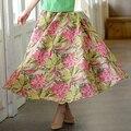 Bohemia faldas para mujer 2016 largo impreso faldas de las mujeres faldas largas de verano con bolsillos de algodón y lino floral falda de cintura alta