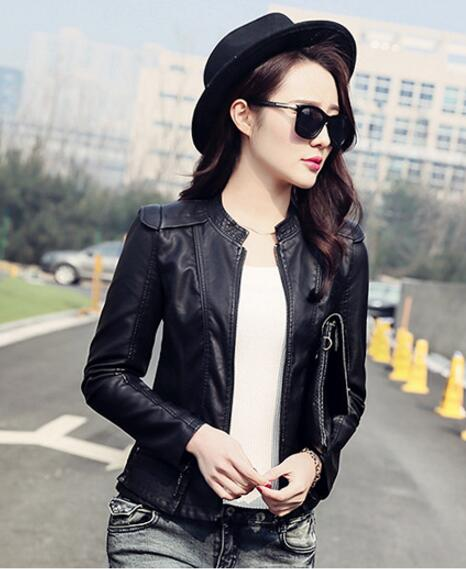 coat leather jacket womens Jaqueta De Couro Feminina Ladies Slim Biker Leather Jacket korean Women Stand Collar black Jackets