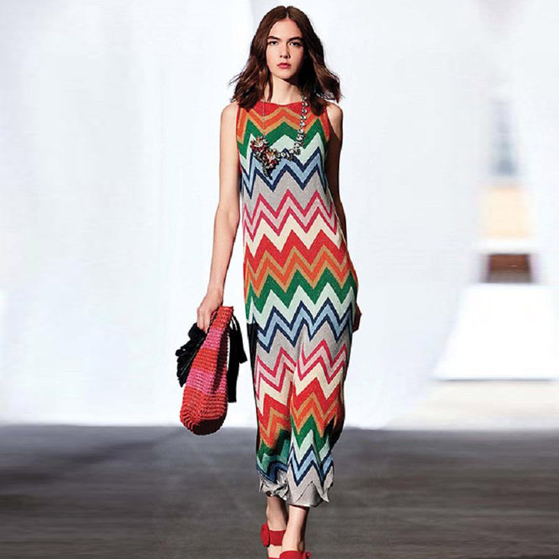 Runway Womens Knitted Dresses Rainbow Striped Super Elastic Maxi Long 2018 Summer Female Sleeveless Party Dress Beach Fashion