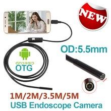 Teléfono Android Micro USB Endoscopio Cámara 5.5mm Lente 6LED Portátil OTG USB Endoscopio 1 M 2 M 3.5 M 5 M USB Android Teléfono boroscopio