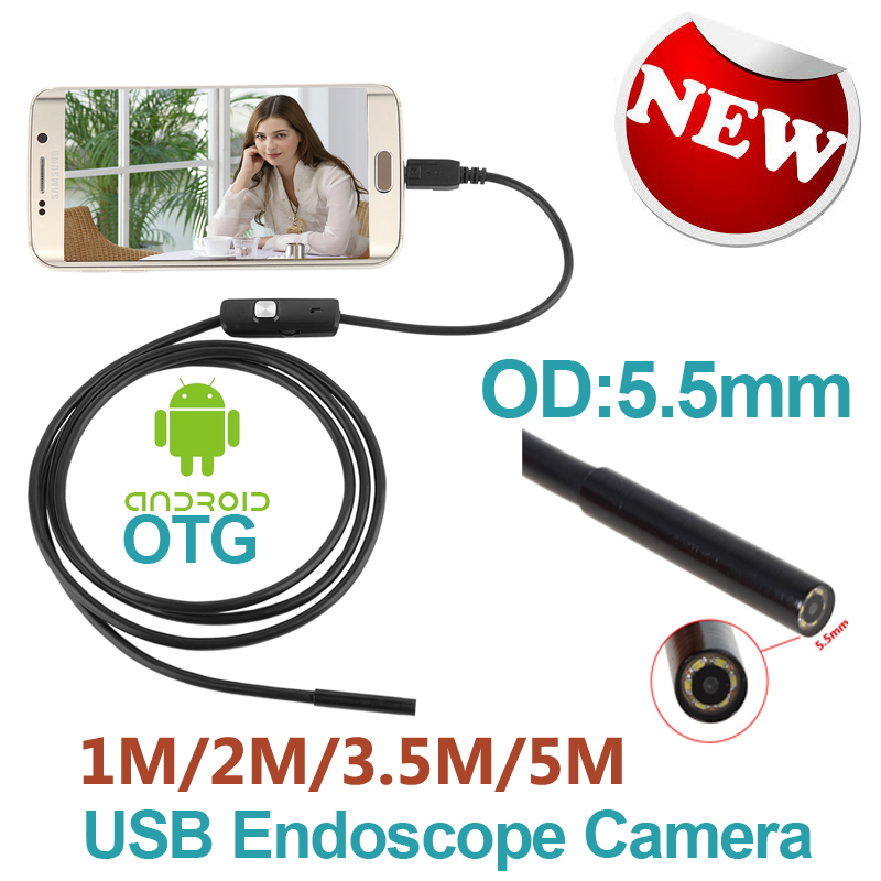 Android Phone Micro USB Endoscope Camera 5.5mm Lens 6LED Portable OTG USB Endoscope 1M 2M 3.5M 5M USB Android Phone Borescope