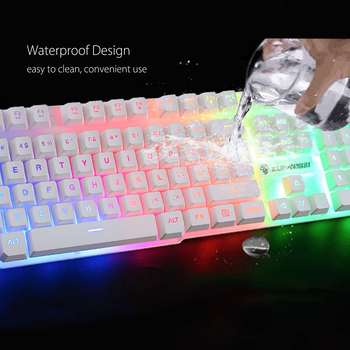 LED Rainbow Backlight USB Ergonomic Wired Gaming Keyboard + 2400DPI Mouse + Mouse Pad Set Kit for PC Laptop Computer Gamer 6