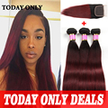 Burgundy Brazilian Virgin Hair 3 Bundles With Closure 99j Brazilian Straight Hair With Closure Ombre Brazilian Hair With Closure