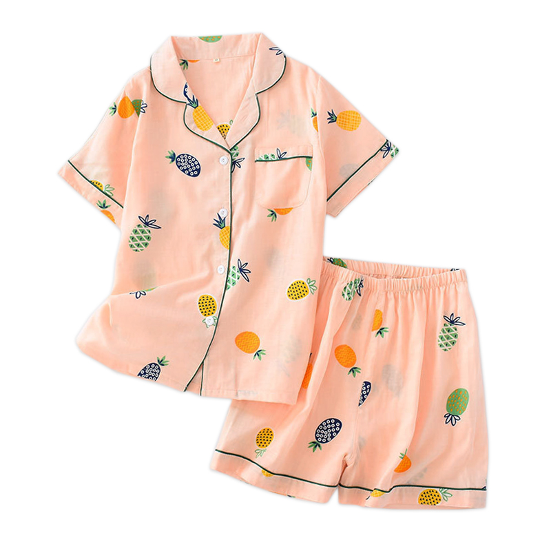 2019 New SALE short sleepwear women   pajama     sets   Japanese 100% cotton short sleeves shorts Cute strawberry women homewear