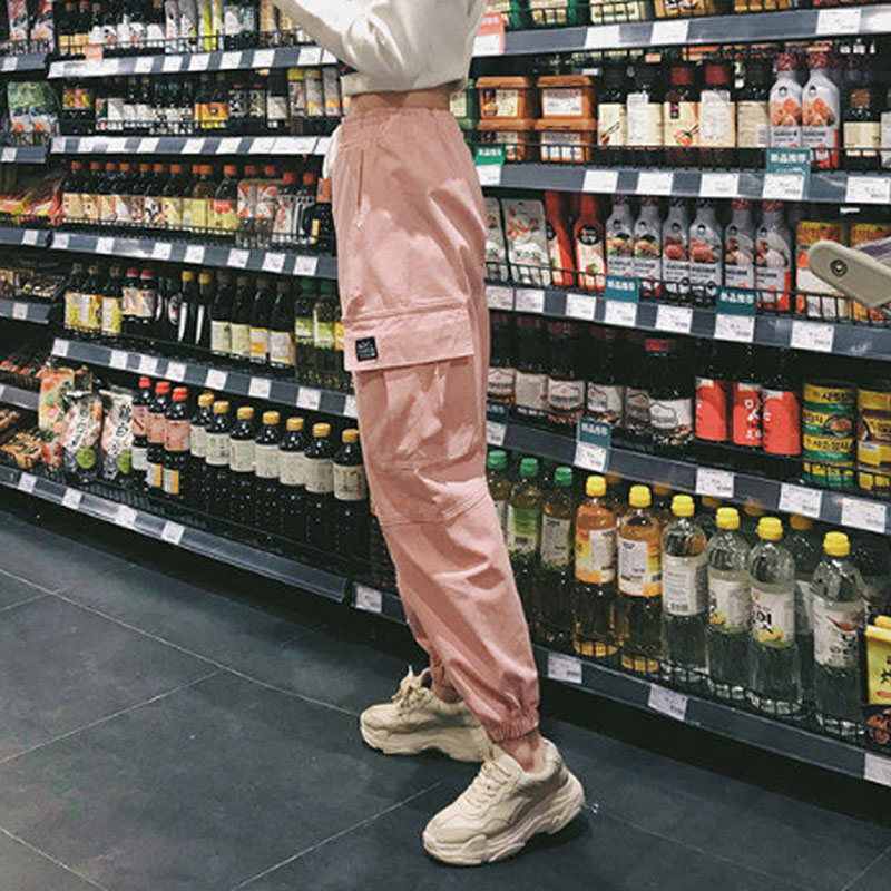 Cotton High Waist Cargo Pants 2019 Spring Pink Khaki Black Female Trousers 66