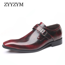 ZYYZYM Men Derby Shoes Leather Plus Size 38-48 Wedding Point Toe Party Dress  Zapatos De Hombre