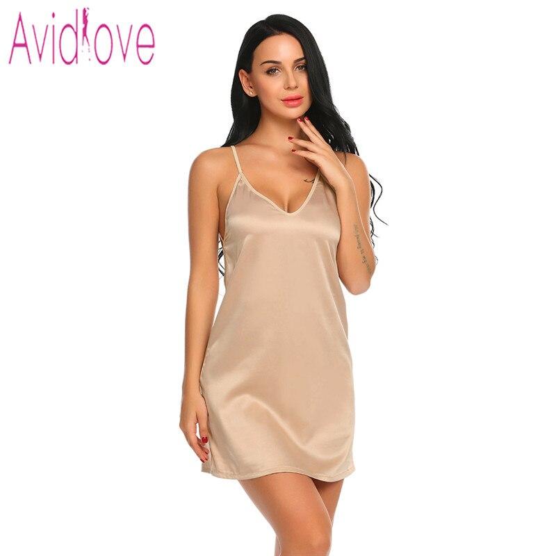 Avidlove Sexy Satin Sleepwear for Women Summer Short Lace Nightgown  Nightwear Soft Full Slip Babydoll Chemise